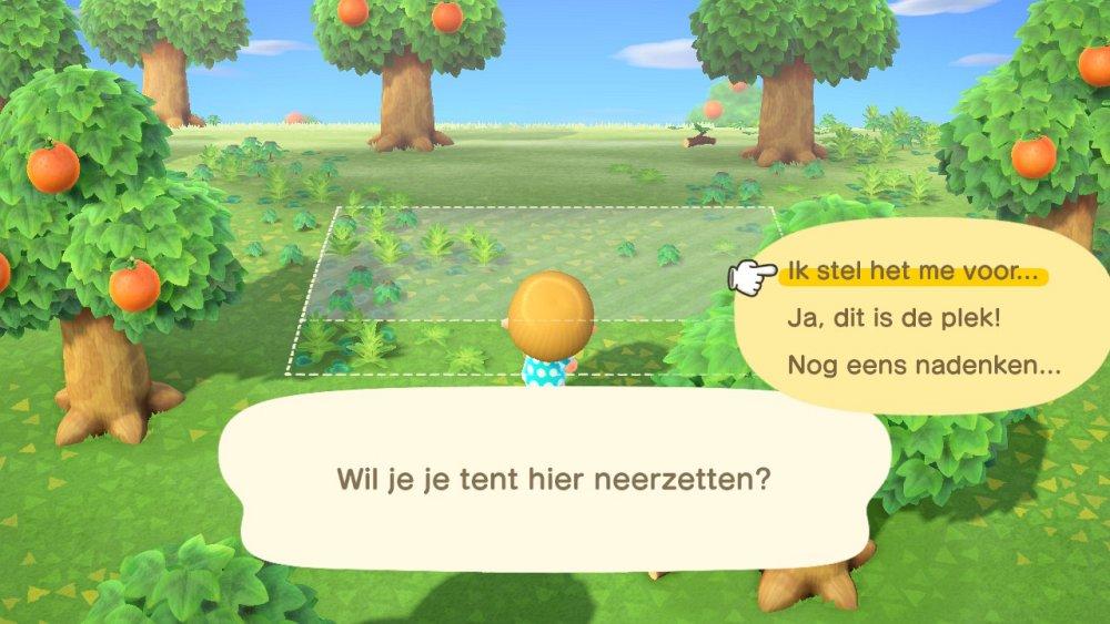 Animal Crossing New Horizons Tent plaatsen