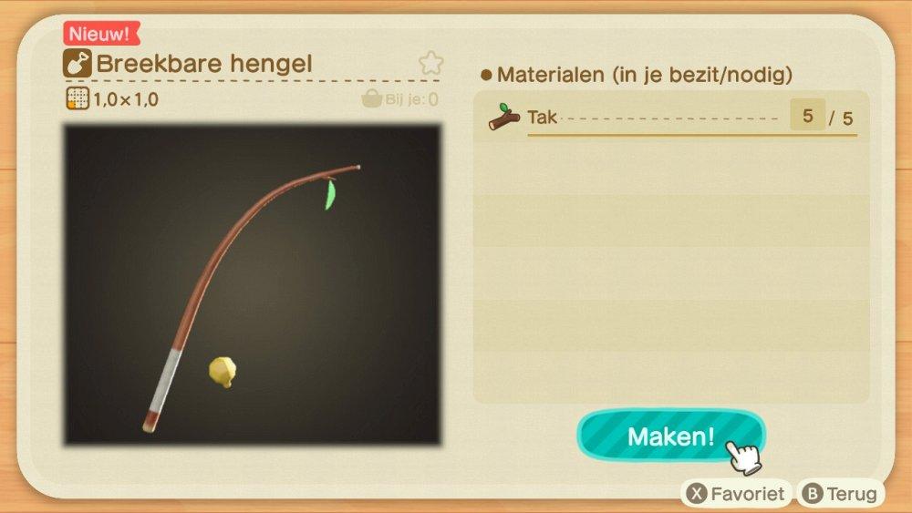 Animal Crossing New Horizons breekbare hengel